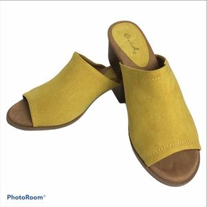 Quipid chartreuse suede slide-in mules